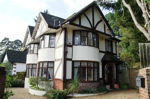 painting exterior mock Tudor house